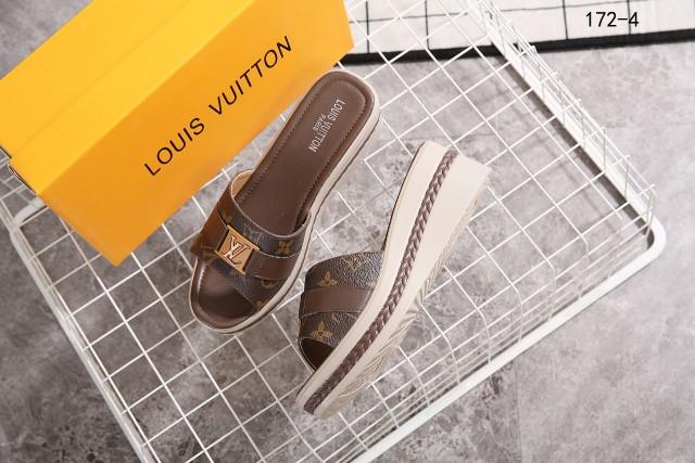 Sandal Louis Vuitton Wanita Terbaru Logo LV Heels 172-4 Semi Premium