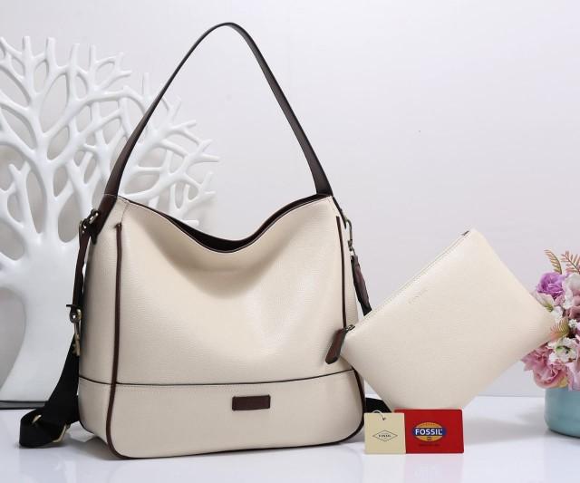 JUAL TAS FOSSIL WANITA TERBARU,Tas Fossil Hobo Lakers Bag In Bag Clemente 2 Tone 41218-2A590 Semi Premium