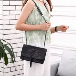 TAS YSL HITAM TERBARU 2021 2022,YSL CROCO TASSEL SO BLACK WITH BOX 6727