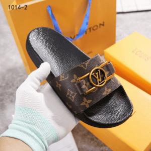 SANDAL WANITA SELOP KEKINIAN,Sandal Louis Vuitton Logo LV Slide 1014-2 Semi Premium