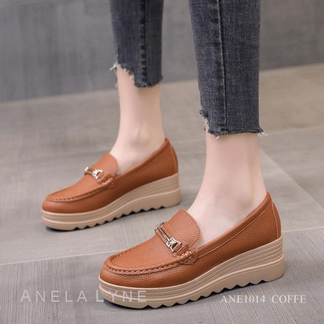 Sepatu WANITA KEKIANIAN KOREA MODEL TERBARU 2021 Anela Lyne Wedges Rene ANE1014 Original Brand Kode SAN112
