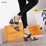 SANDAL HEELS WANITA MODEL TERBARU Sandal LV Louis Vuitton Chunky Heels L345-8A Platinum Kode SLV394