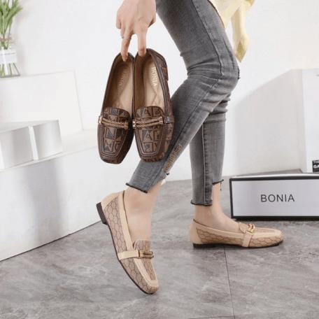 SEPATU WANITA FLAT BRANDED Sepatu Bonia Chain Loafers 308-188 Semi Premium Kode SBO025
