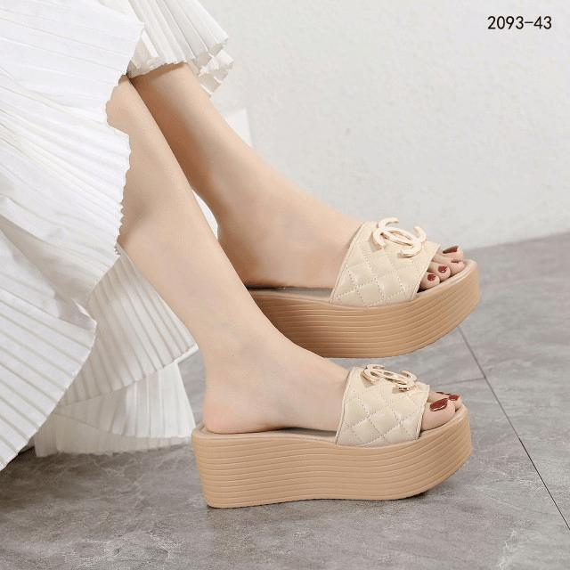 Sandal IMPORT WANITA KOREA TERABRU, SANDAL Chan3l Wedges 2093-43 Semi Premium Kode SCH207 33