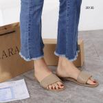 Sandal WANITA SANTAI DAN SIMPLE Zara Padded Flat Leather 20135 Platinum Kode SZA100