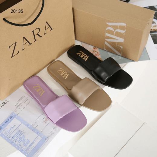 Sandal WANITA SANTAI DAN SIMPLE Zara Padded Flat Leather 20135 Platinum Kode SZA100 2