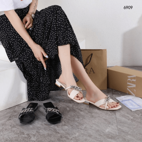 Sandal Zara WANITA TERBARU 2021 Chain Slide 6909 Platinum Kode SZA107 280RB,Sandal Zara BATAM IMPORT 2