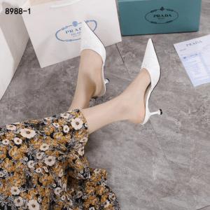 Sandal wanita kekinian buat kondangan, SANDAL WANITA Prada Leather Slingback Pumps 8988-1 Platinum