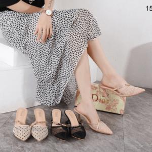 Sandal wanita kekinian terbaru 2021 Dior Dotted Swiss Slingback Heels 158-7 Semi Premium