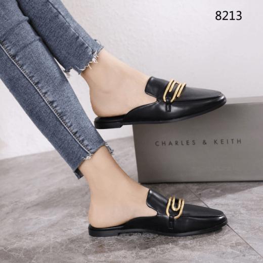 Sepatu Charles & Keith Black Metal Accent Mules 8213 Platinum Kode CNK273 2