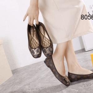 Sepatu Flat Shoes Wanita Terbaru Louis Vuitton LV Logo Bow 8058-2 Semi Premium Kode SLV213