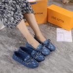 Sepatu Louis Vuitton Gloria Flat In Monogram Denim 3188-98 Platinum Kode SLV395
