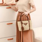 TAS PRADA SELEMPANG WANITA BRANDED Tas Prada Leather Trimmed Wicker Tote Bag 6618 Platinum Kode PRA048