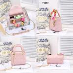 Tas DIOR SELEMPANG TERBARU 2021, CD Christian Dior Lady Leather Sling Bag T989 Platinum Kode CD4012