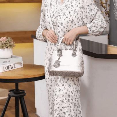 Tas LV WANITA TERBARU WARNA PUTIH, Louis Vuitton Alma Croco Himalaya Hand Bag M211060 Semi Premium Kode LV1359 3