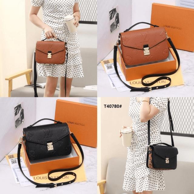 Tas LV selempang,Tas LV terbaru, Pochette Metis Leather Embossed Sling Bag T40780 Platinum Kode LV1567