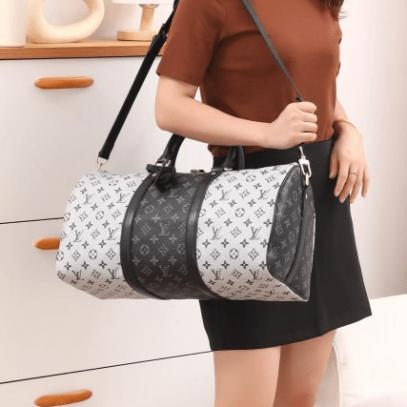 Tas Louis Vuitton Keep 45 Silver-Black Monogram Travel Bag M41416 Platinum Kode LV1559 22