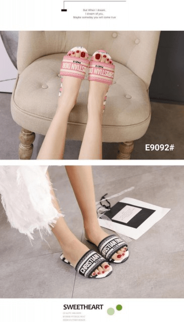 MODEL SANDAL WANITA TERBARU 2021,Sandal CD Christian Dior Dway Slide Stripes Embroidered Women's E9092 Semi Premium Kode SCD175 4J