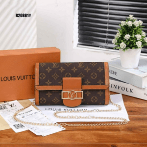 Tas Lv Selempang kecil terbaru,Tas Louis Vuitton Dauphine Chain Wallet R20881 Semi Premium Kode LVT102