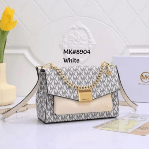 Tas MK selempang, tas mk terbaru,tas Michael Kors Lita Medium Two Tone Logo Crossbody Bag 8904 Semi Premium Kode MK153