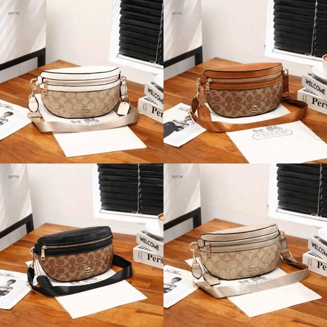 Tas PINGGANG WANITA KEKINIAN, TAS Coach Women's Coated Canvas Signature Belt Bag 20777 Semi Premium Kode COA617 5